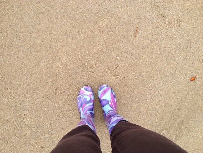 Beach trip in rain boots and some Blogilates workouts